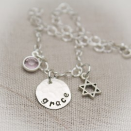 Star of David Bracelet with Name and Birthstone